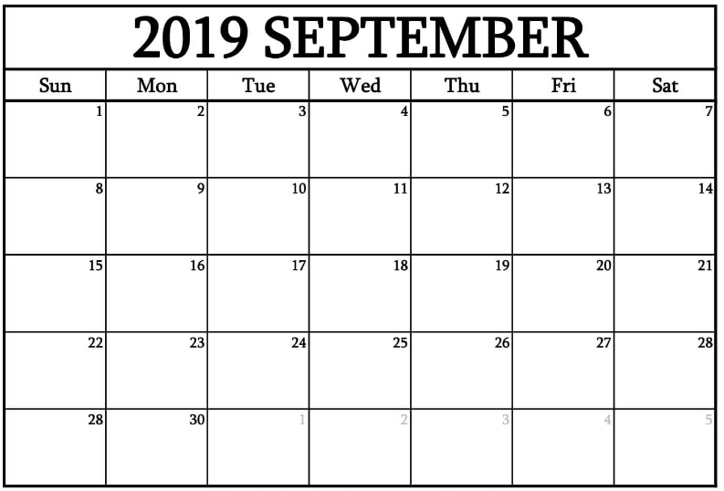 Free Printable September 2019 Calendar Template