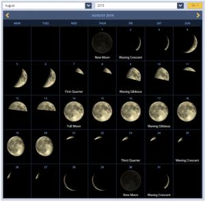 Full Moon Calendar August 2019