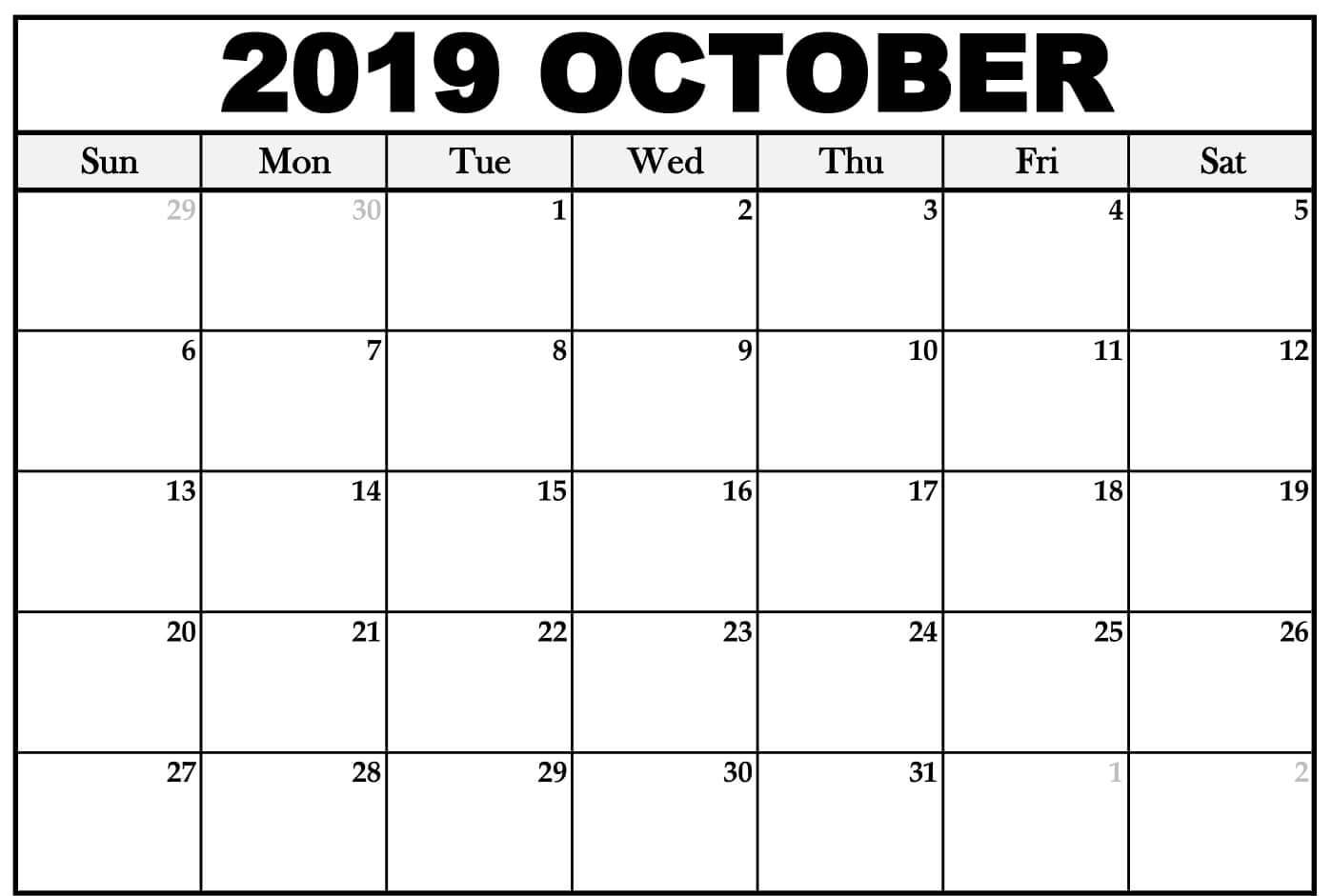 Monthly Printable Calendar Template October 2019