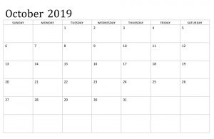 October 2019 Printable Calendar Excel