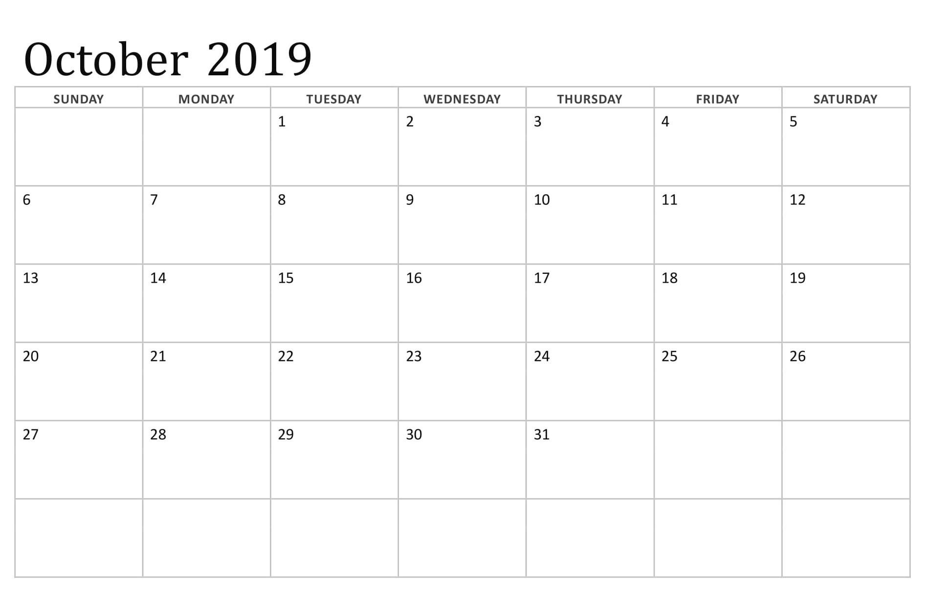 October 2019 Printable Calendar Excel