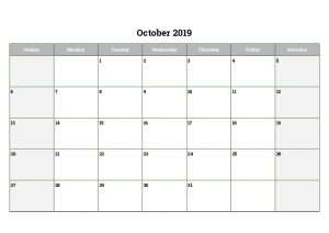 October 2019 Printable Calendar Word