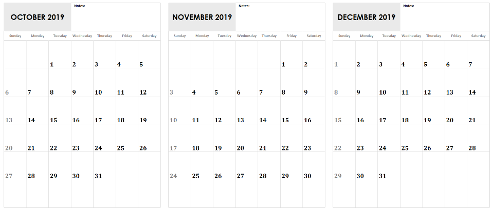 October November December 2019 Calendar Printable