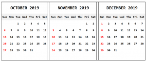 October November December 2019 Calendar Template
