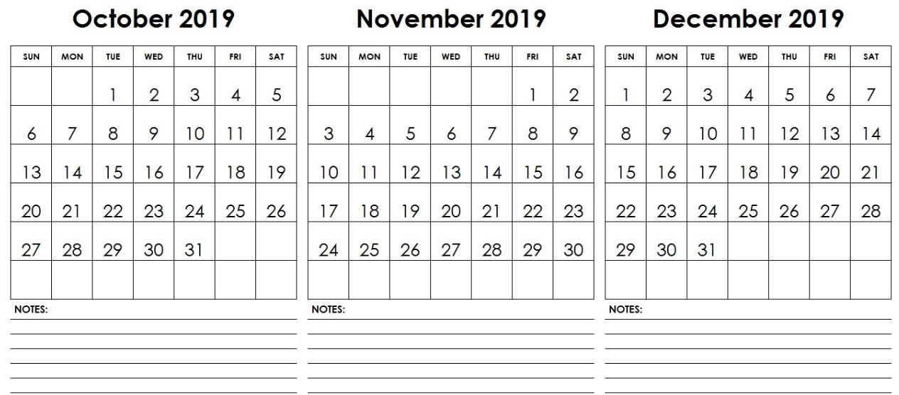 October November December 2019 Calendar