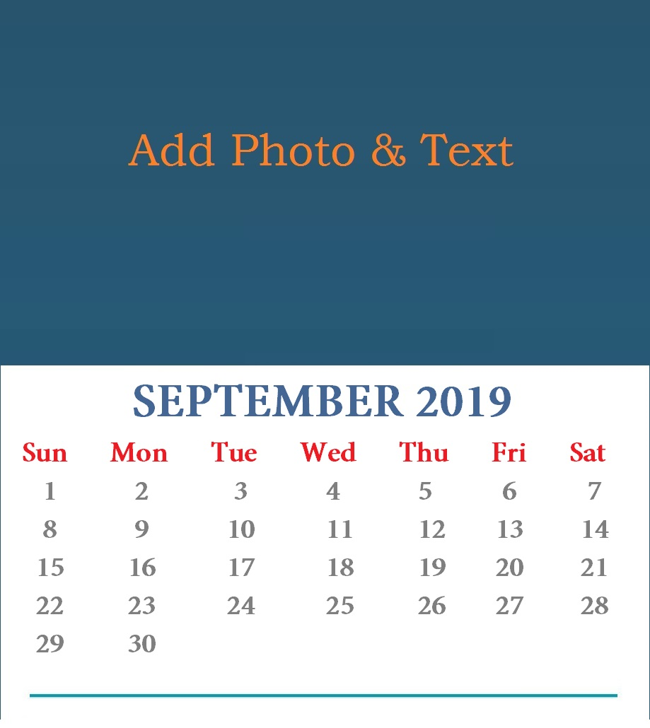Personalized September 2019 Wall Calendar