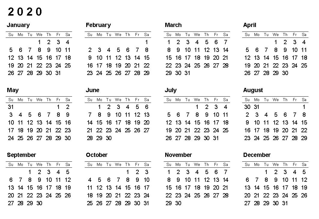 Printable 2020 12 Months Blank Calendar
