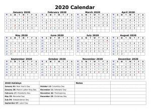 Printable 2020 One Page Holidays Calendar