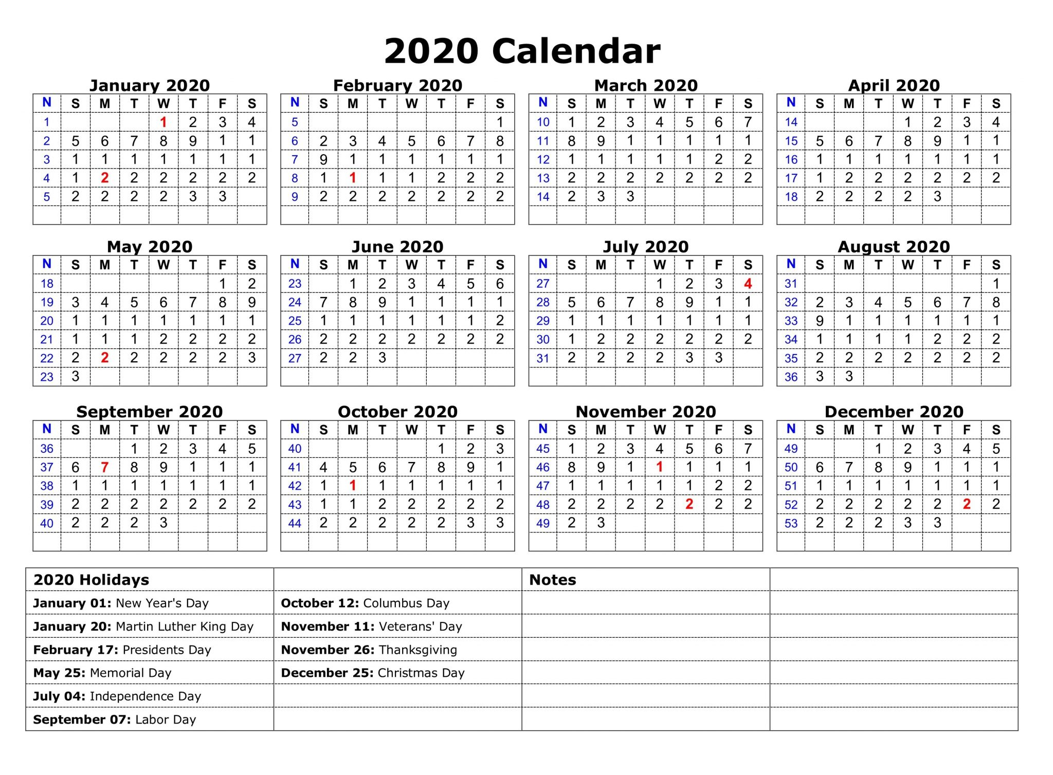 Printable 2020 One Page Holidays Calendar