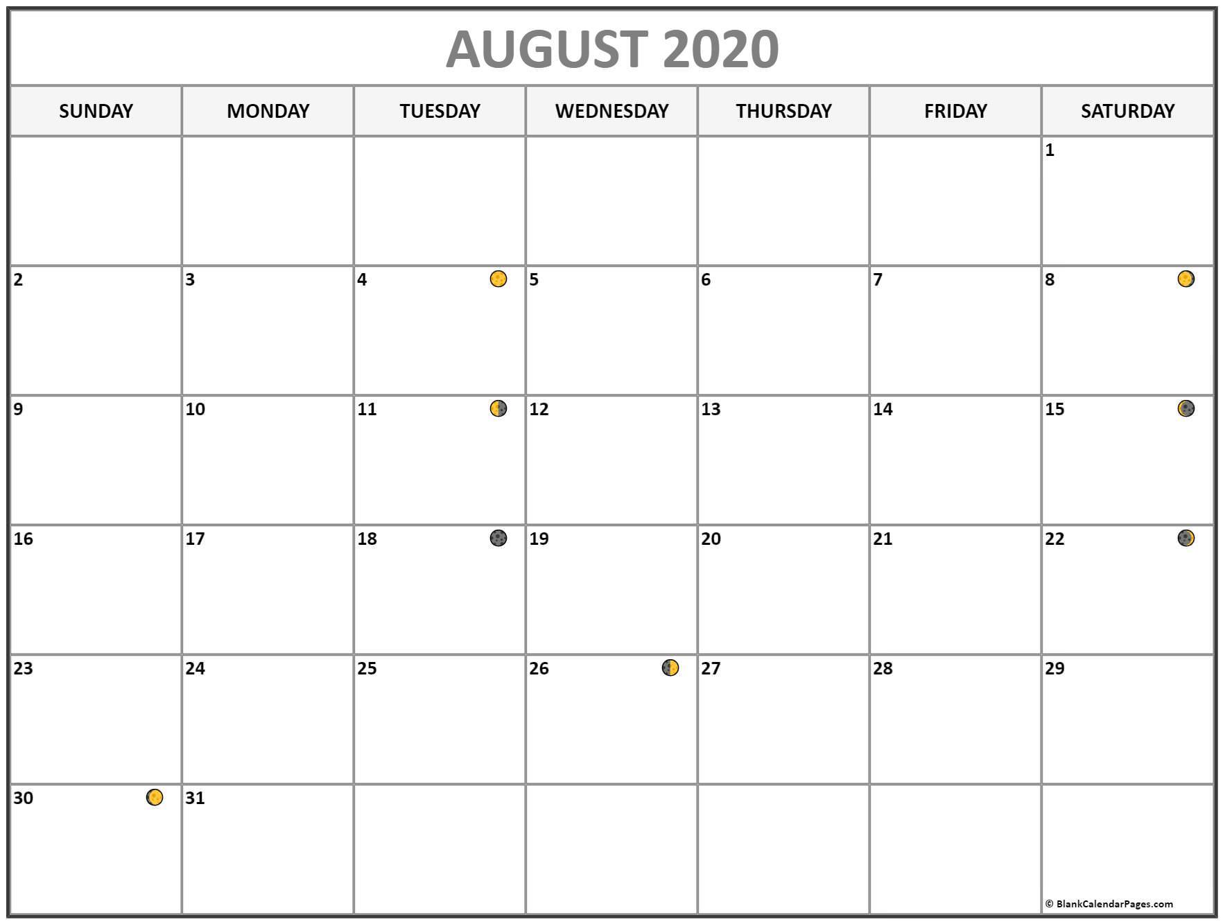 Printable August 2020 Moon Calendar