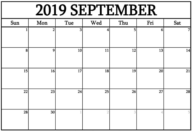 September 2019 Calendar Template Word