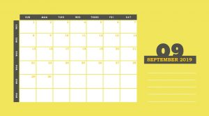 September 2019 Desk Calendar Template