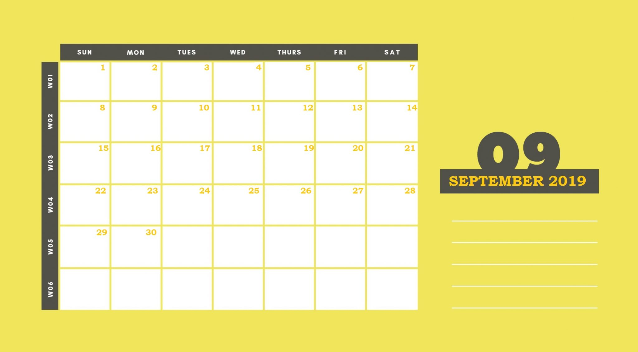 September 2019 Desk Calendar Template