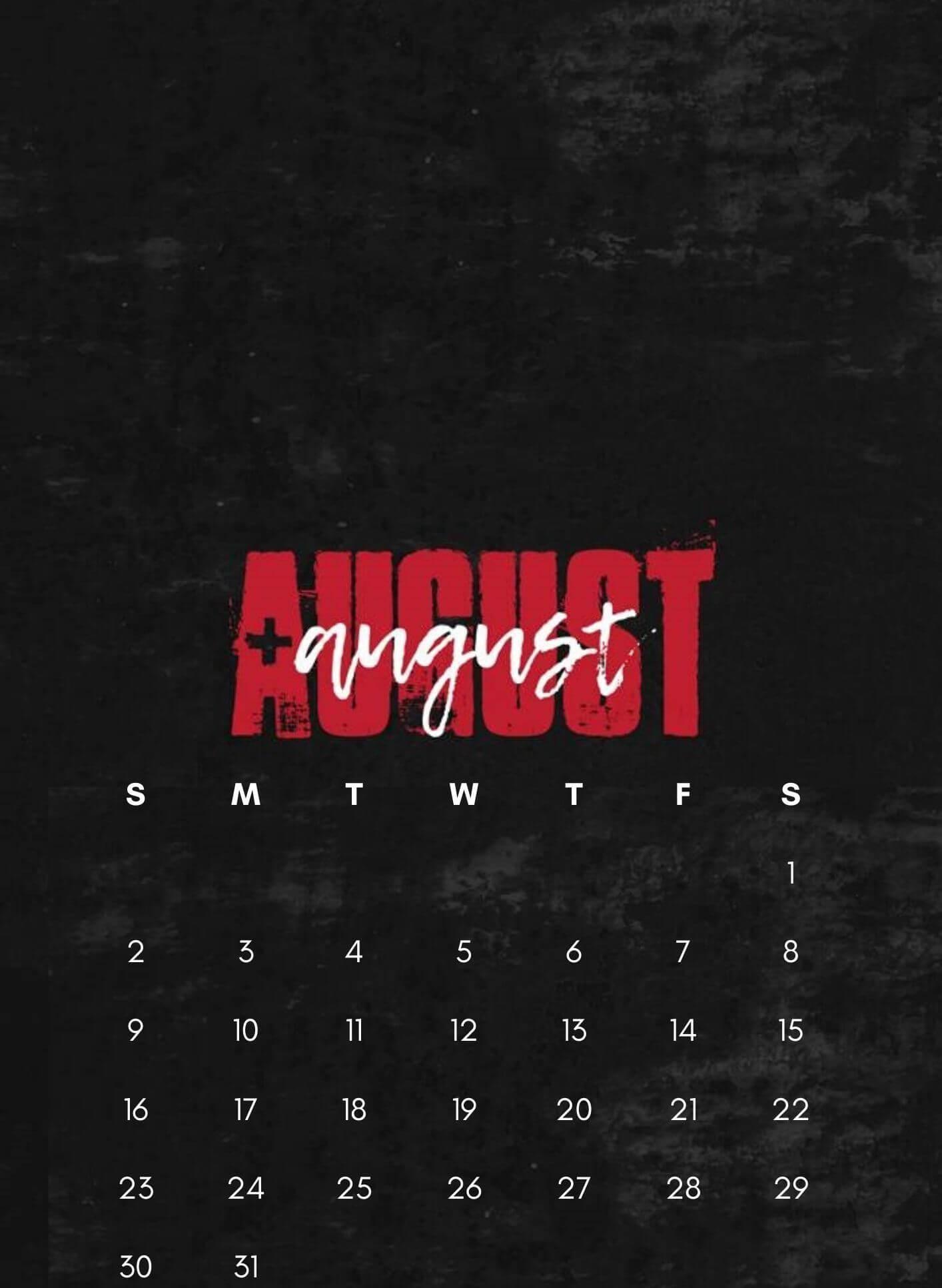 iPhone August 2020 HD Calendar