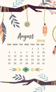 iPhone HD Calendar Wallpaper August 2019