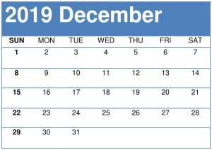 Blank Calendar December 2019 Template with Notes