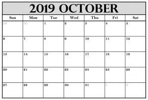 Blank Calendar Template October 2019