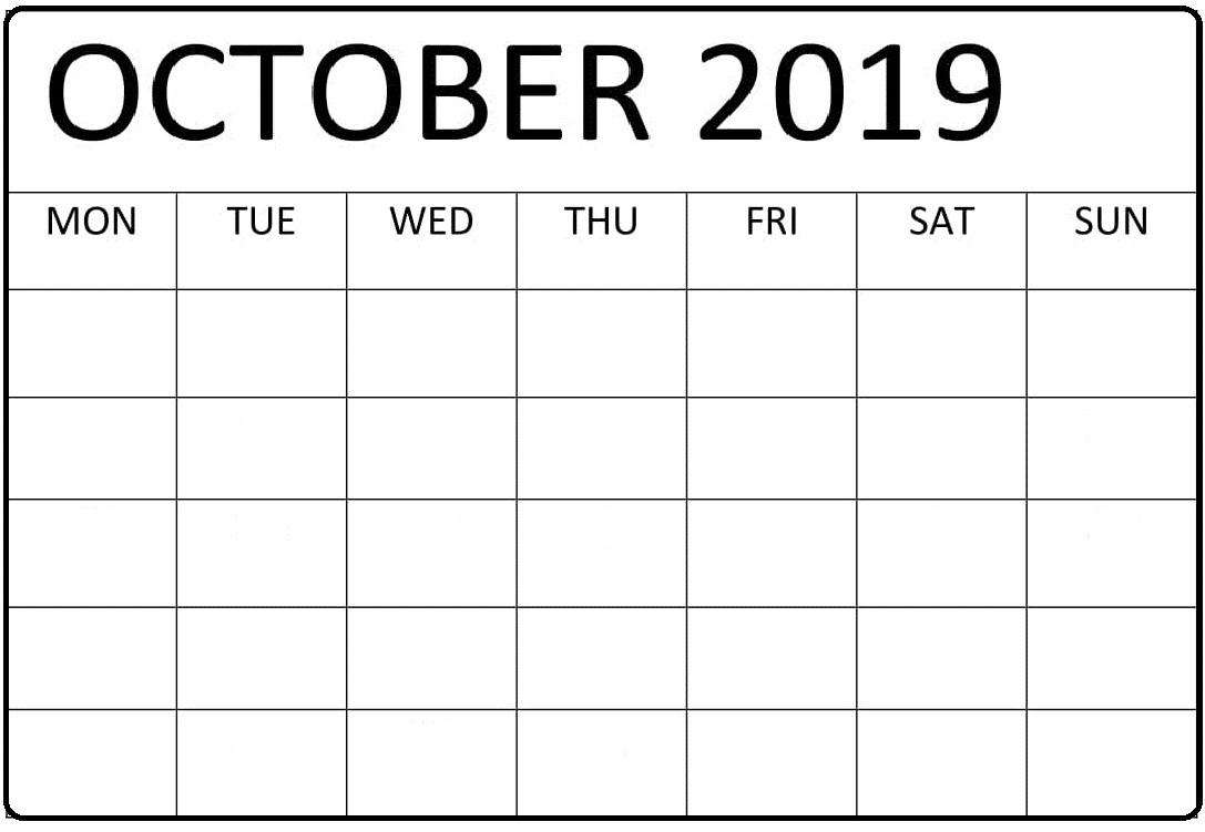 Blank October 2019 Calendar PDF
