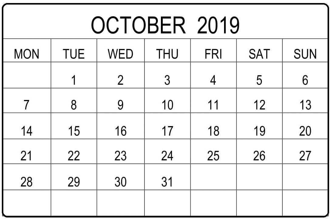 Blank October 2019 Editable Calendar Excel