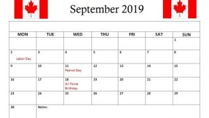 Canada Holidays Calendar September 2019