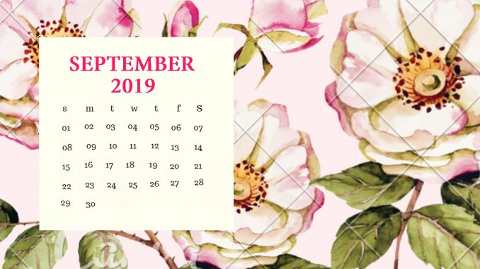 Cute September 2019 Calendar Printable Wallpapers HD