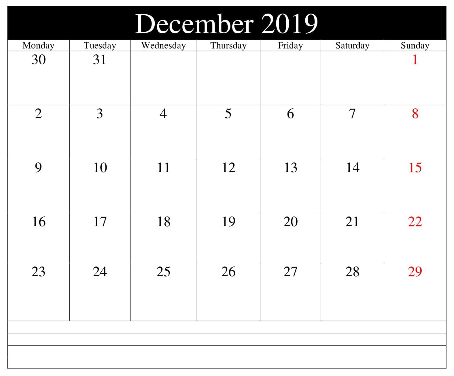 December 2019 Calendar Template Excel
