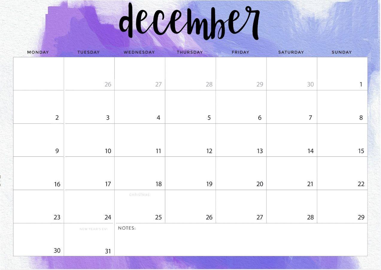 Desk Calendar Template December 2019