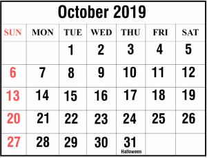 Editable October 2019 Calendar