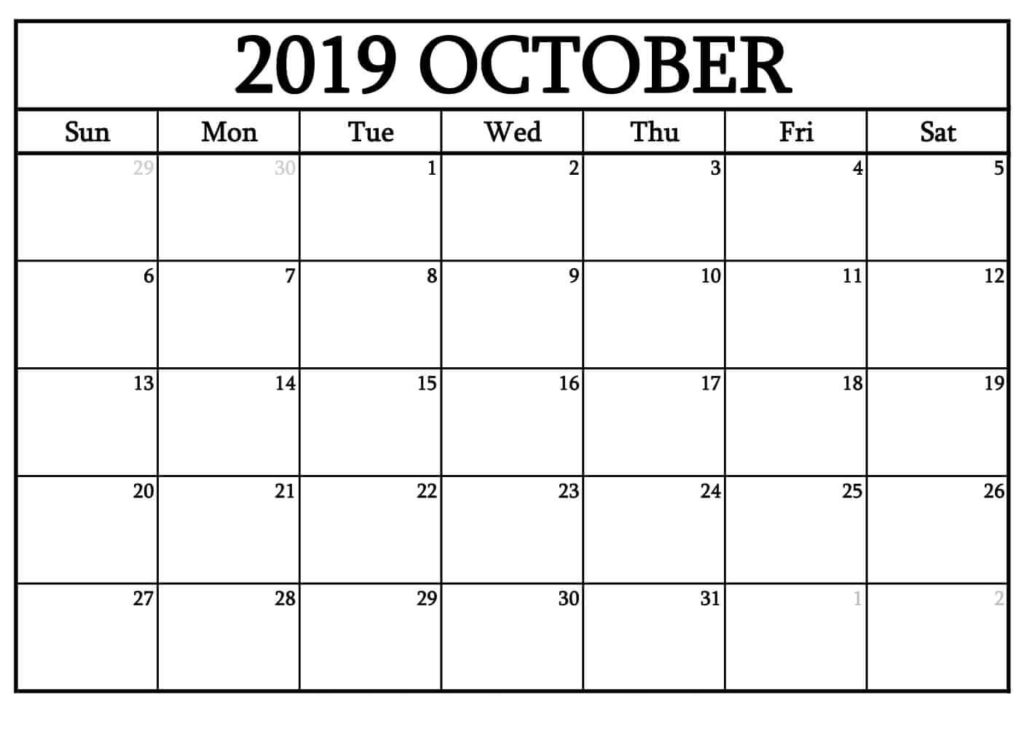 Editable October 2019 Calendar Blank Template