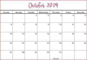 Editable October 2019 Calendar Printable