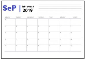 Editable September 2019 Calendar Printable
