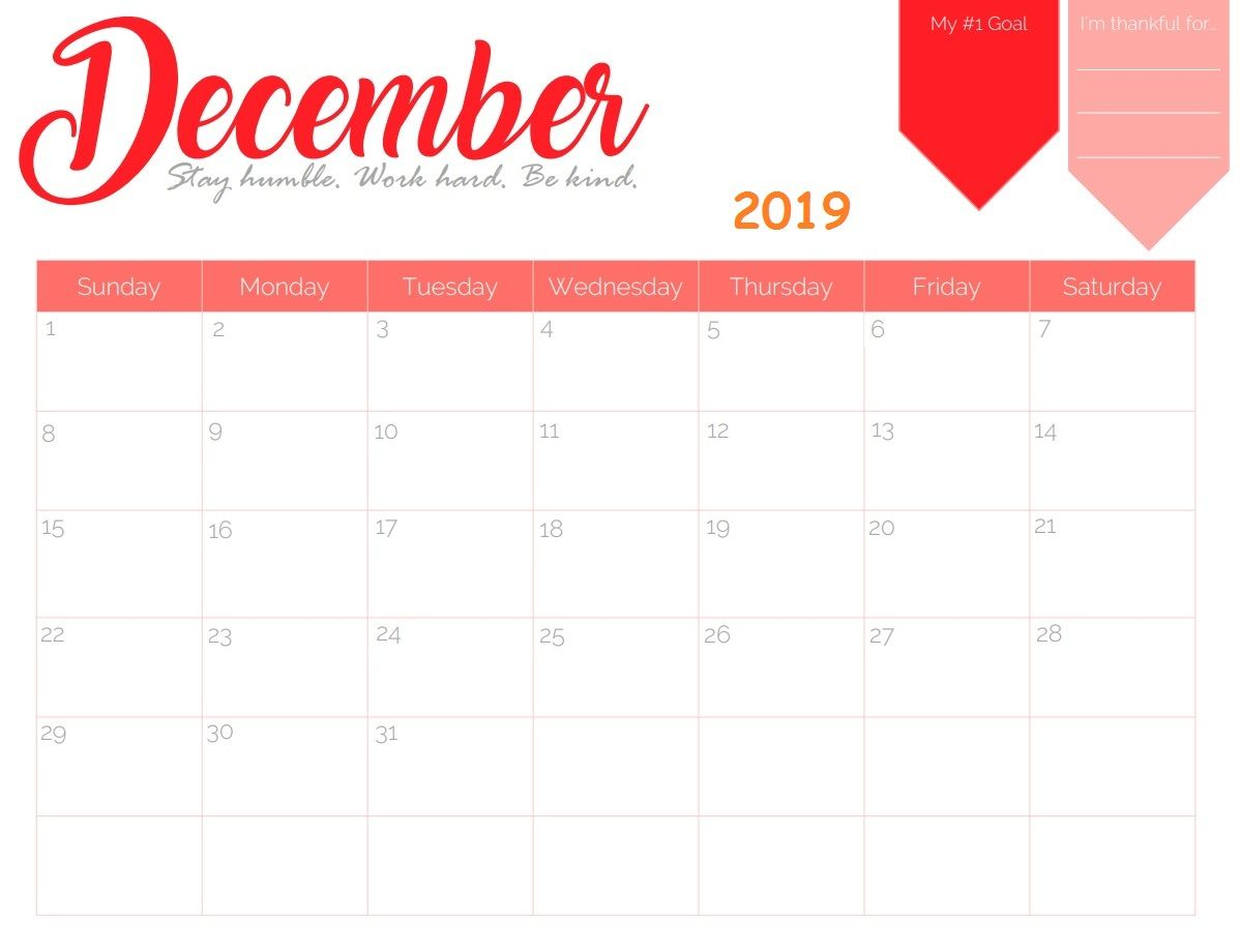 Free Printable December 2019 Wall Calendar
