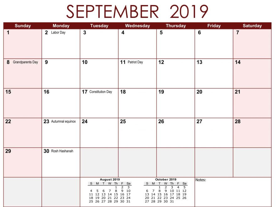 Holidays Calendar September 2019