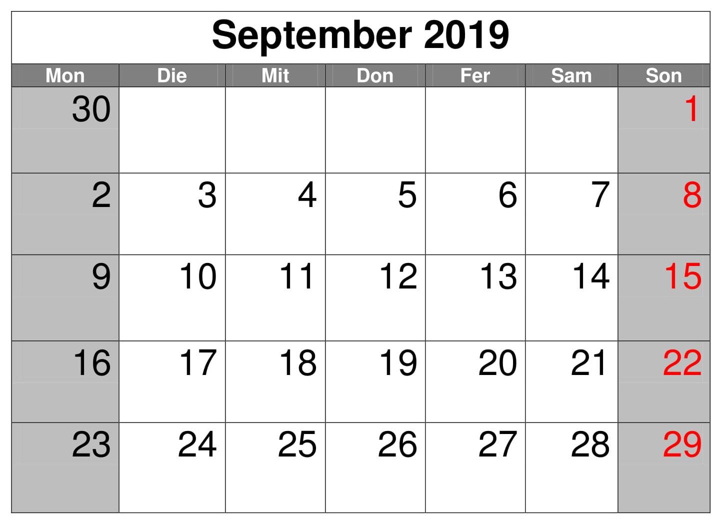 Kalender 2019 September Excel