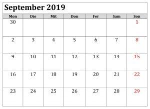 Kalender 2019 September Lengcap