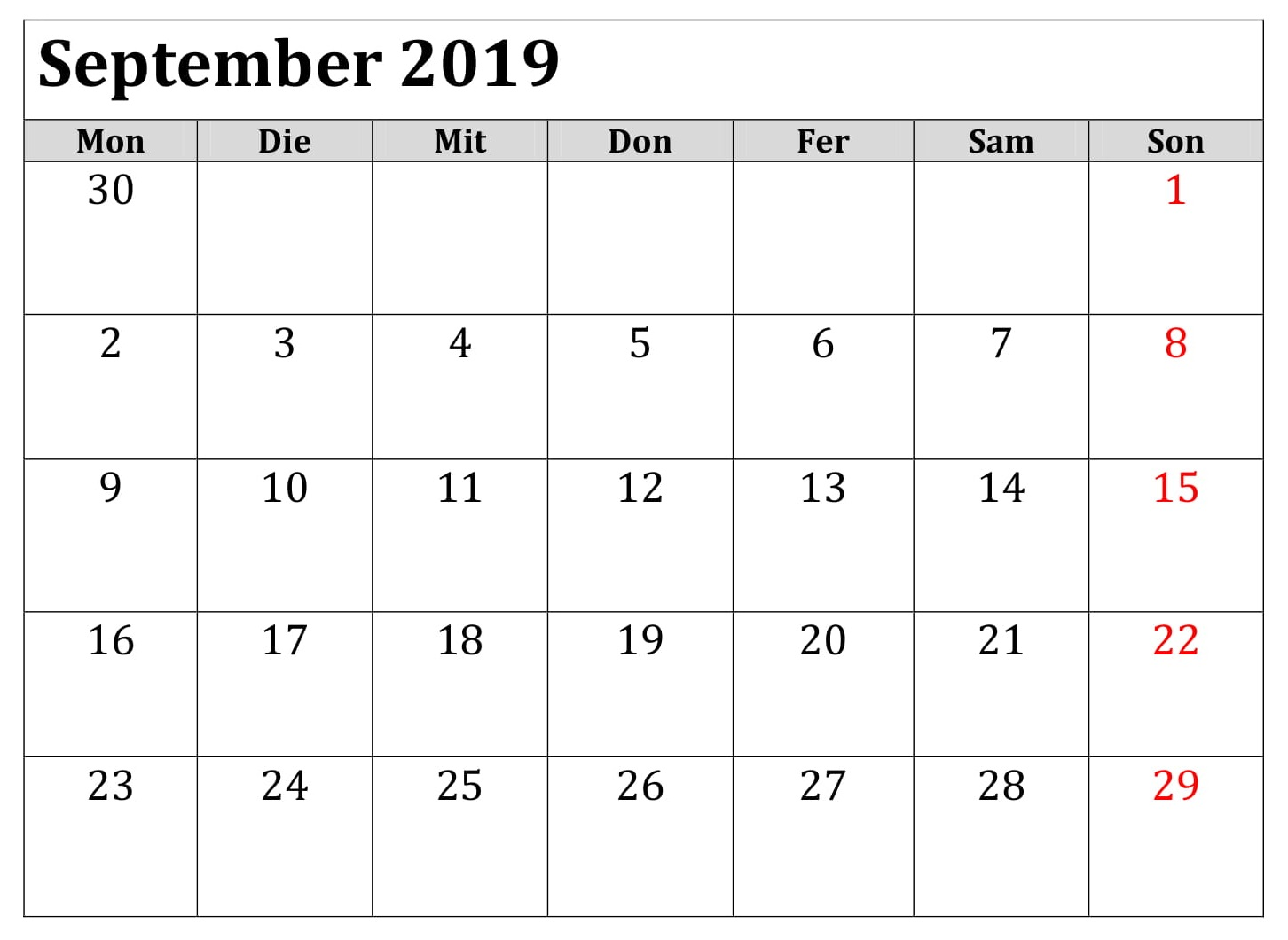 Kalender 2019 September Lengcap