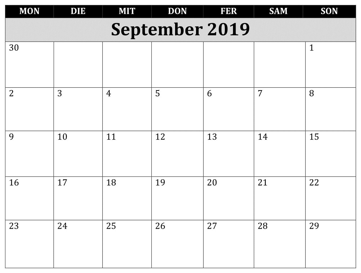 Kalender Leer September 2019