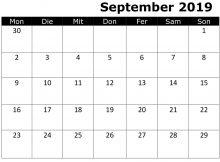 Kalender September 2019
