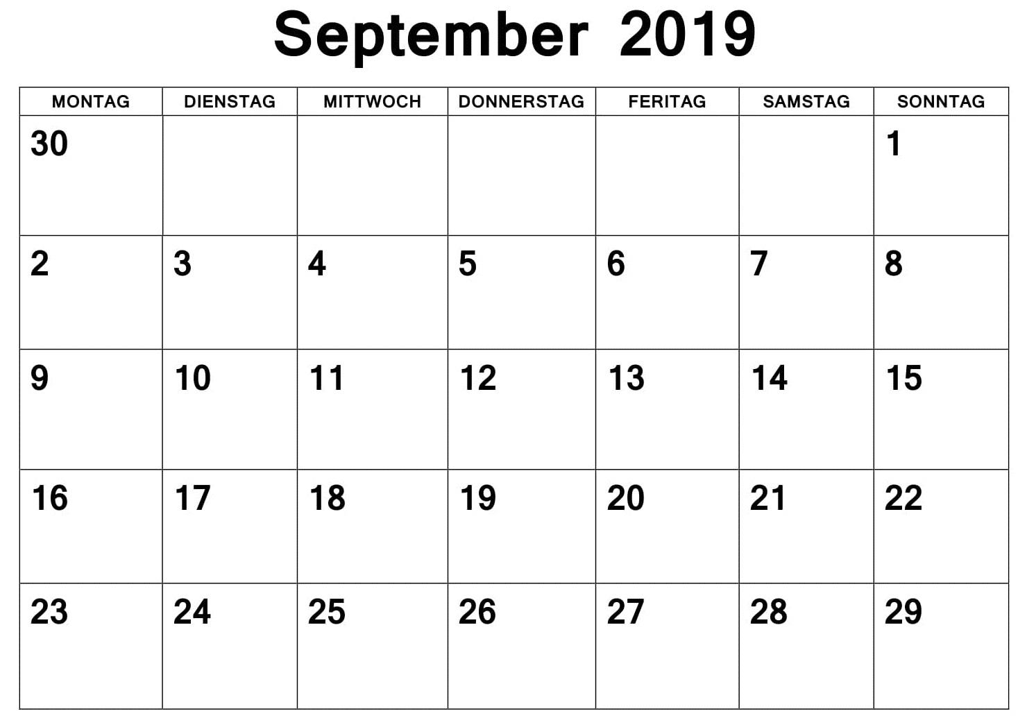 Kalender September 2019 Mit Feiertagen