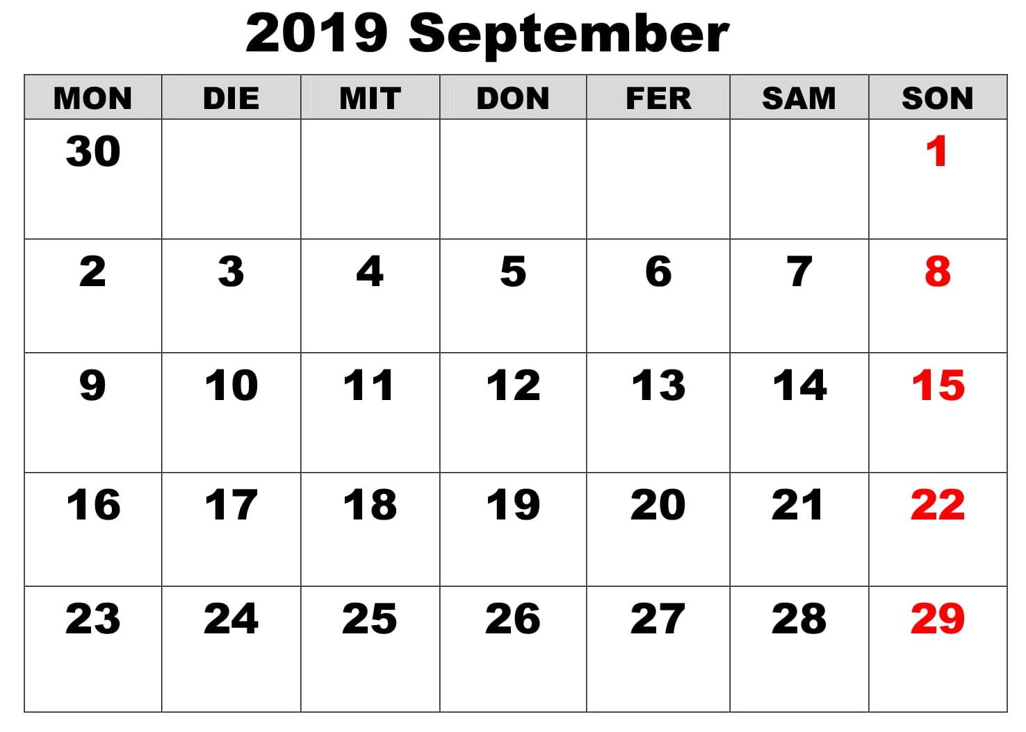 Kalender September 2019 PDF