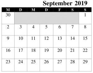 Kalender September 2019 Zum Ausdrucken