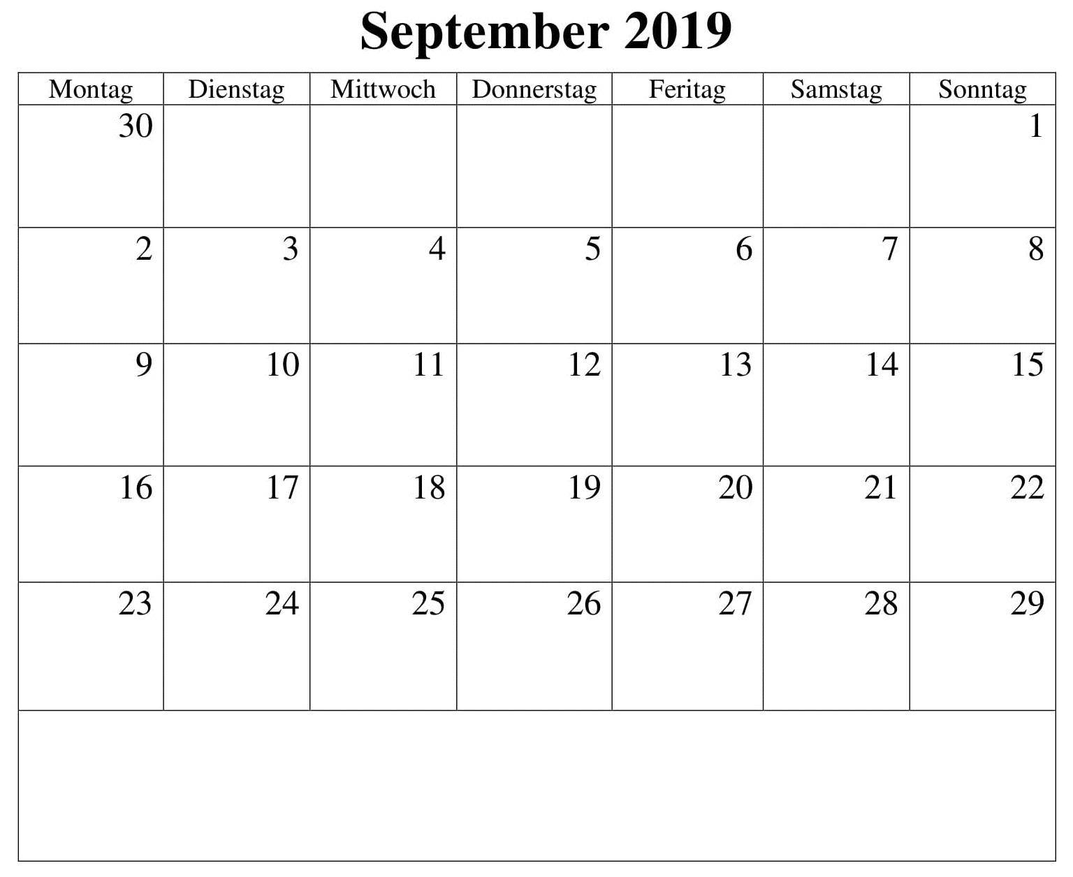 Kalender Stile 2019 September