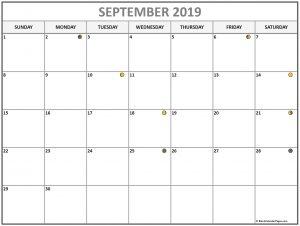 Lunar Calendar September 2019