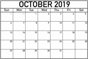 Monthly Calendar Template October 2019