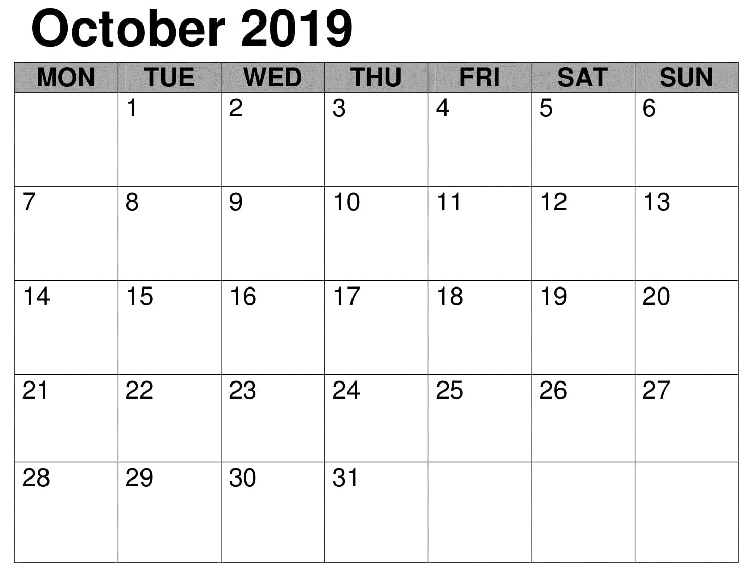 Monthly Calendar Template October 2019