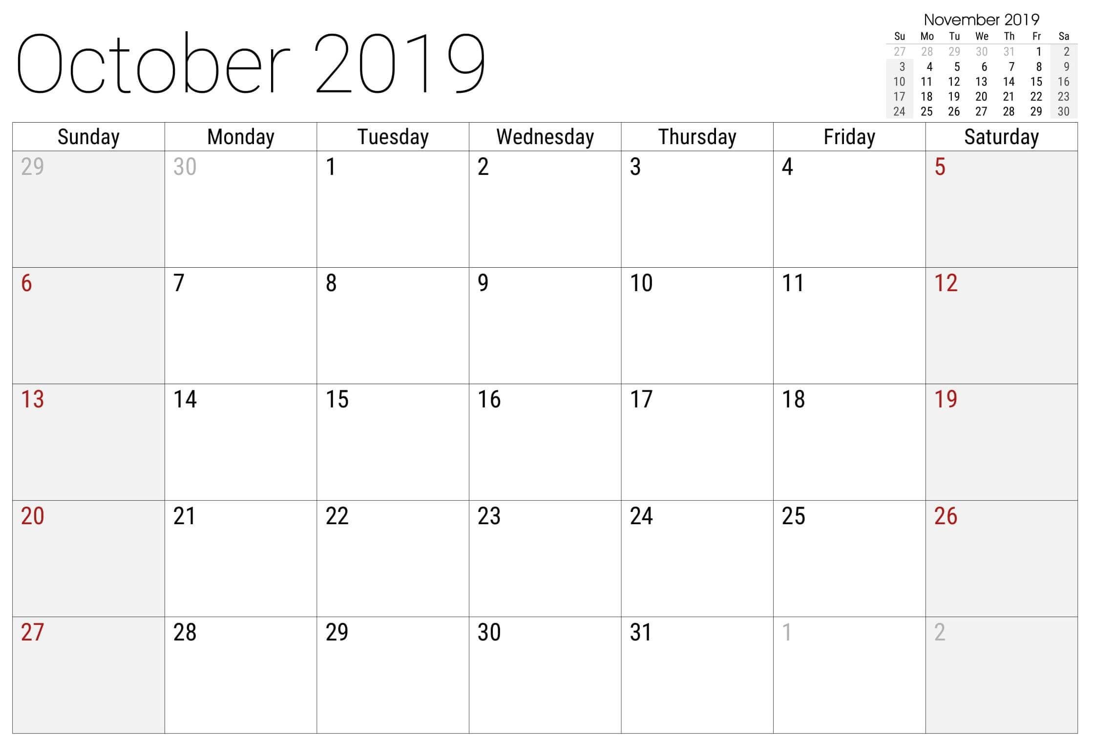 October 2019 Calendar Editable