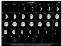 October 2019 Calendar Moon