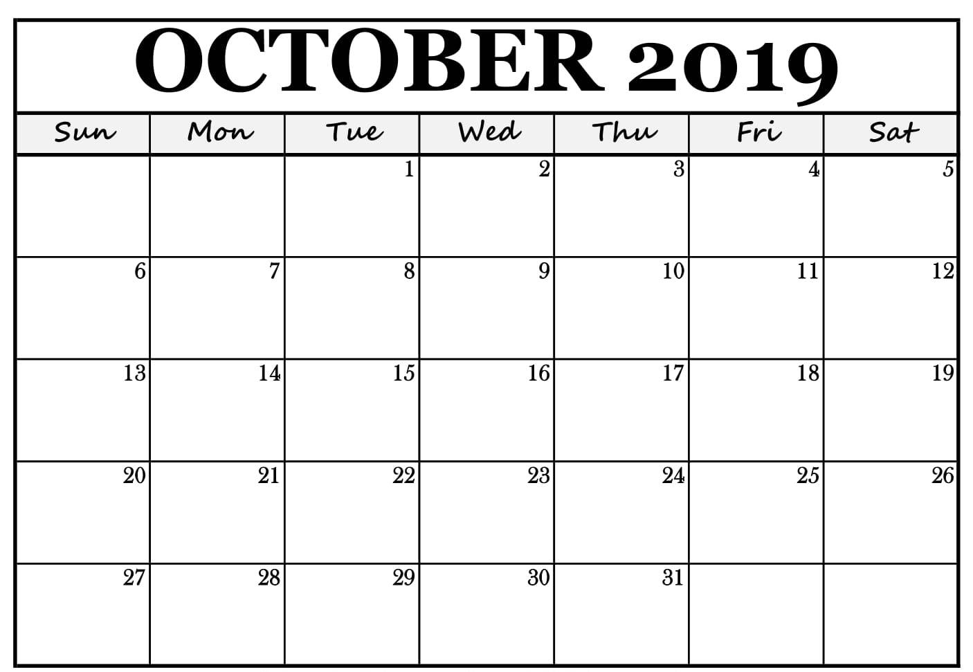 October 2019 Calendar Printable Template
