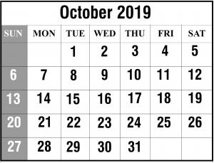 October 2019 Calendar Template Word