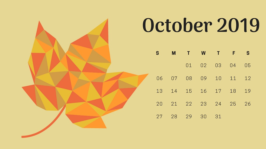 October 2019 Calendar Wallpaper